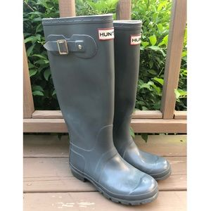 HUNTER US 6 Grey Blue Gloss Original Rain Boots